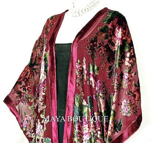Caftan Kimono Jacket Silk Burnout Velvet Cherry Multi Gypsy Rose Maya Matazaro