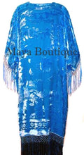 Aqua Kimono Fringe Jacket Opera Coat Silk Burnout Velvet Maya Matazaro USA Made