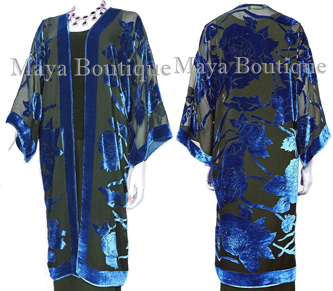 Blue Long Kimono Jacket Silk Burnout Velvet No Fringe Maya Matazaro