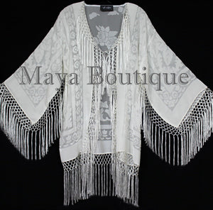 Ivory Short Fringe Coat Jacket Kimono Silk Burnout Velvet Maya Matazaro USA Made