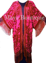 Scarlet Red Kimono Opera Coat Caftan Duster Silk Burnout Velvet Maya Clothing
