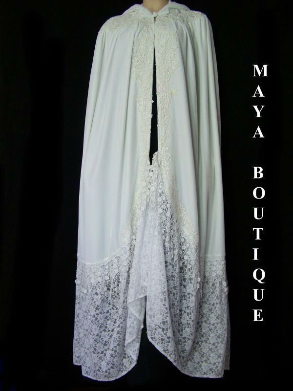 White Cloak Opera Cape Victorian Rep Long Velvet & Lace Lined Maya Cloak