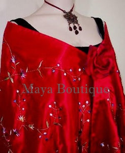 Huge Embroidered Silk Wrap Opera Shawl Scarf Red Multi Floral Maya Matazaro