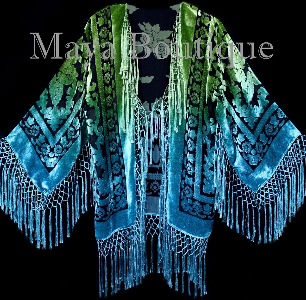 Art to Wear Devore Velvet Kimono Jacket Hand Dyed Green Turquoise Maya Matazaro