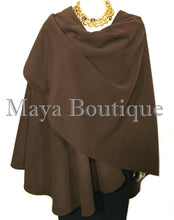 Expresso Brown Cape Ruana Wrap Coat Cashmere Wool Blend Maya Matazaro USA Made