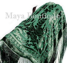 Emerald Green Piano Shawl Wrap Fringed Scarf Silk Burnout Velvet Maya Matazaro