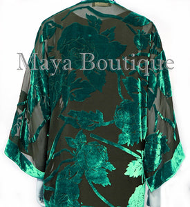 Teal Long Kimono Jacket Silk Burnout Velvet No Fringe Maya Matazaro