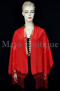 Red Embroidered Silk Wrap Shawl Scarf Oblong with Fringes Maya Matazaro