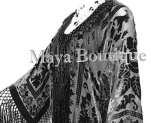 Black Silk Burnout Velvet Fringes Jacket Kimono Long Coat Maya Matazaro