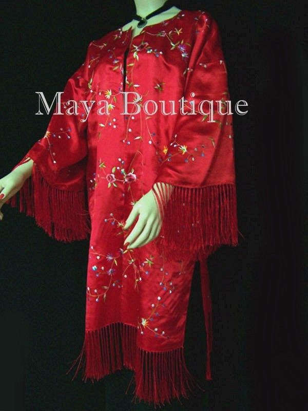 Red Embroidered Fringe Jacket Kimono Coat Lined Maya Matazaro