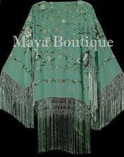 Embroidered Silk Fringe Jacket Kimono Tiffany Green Hand Dyed Maya Matazaro USA