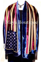 American USA Flag Silk Burnout Velvet Shawl Wrap With Fringes Maya Matazaro