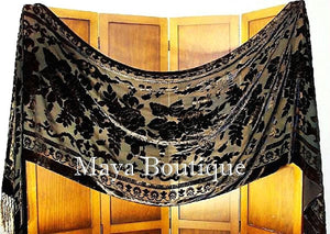 Black Maya Matazaro Silk Shawl Wrap Scarf Burnout Velvet Oblong Extra Large 110""