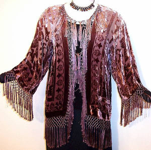 Hand dyed By Maya Burnout Velvet Fringe Jacket Kimono Short Brown & Beige