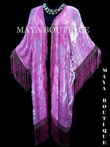 Fringe Jacket Kimono Duster Silk Burnout Velvet Candy Pink Maya Matazaro Plus