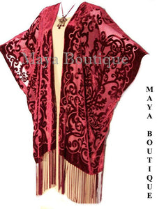 Caftan Kimono Burnout Velvet Art Nouveau Deep Red Maya Matazaro USA Made