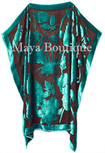 Caftan Dress Kimono Silk Burnout Velvet Teal Black Hand Dyed Maya Matazaro