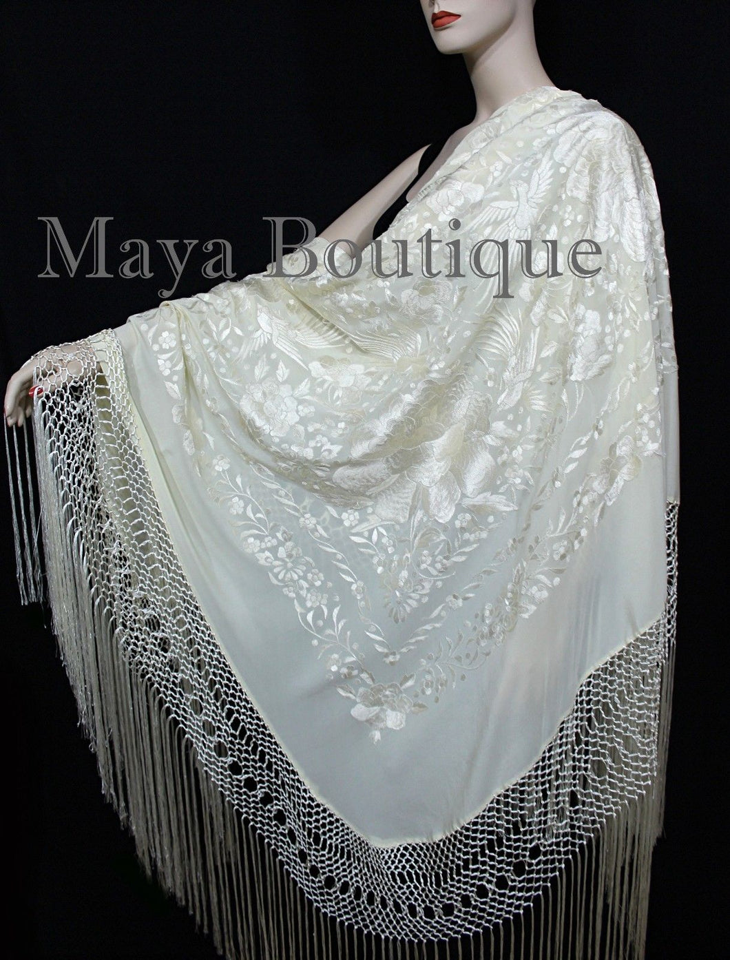 Ivory Flamenco Embroidered Silk Piano Shawl Wrap Flowers & Birds 88