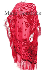 Scarlet Red Silk Burnout Velvet Caftan Dress Duster Kimono Fringe Maya Matazaro