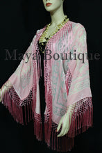 Maya Matazaro Rose Quartz Silk Burnout Velvet Fringe Jacket Short Kimono US Made