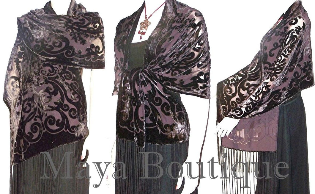 Chocolate Brown Shawl Wrap Scarf Burnout Velvet Art Nouveau Oblong Maya Matazaro