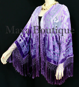 Wearable Art Purple Lavender Velvet Kimono Jacket Hand Dyed Short Maya Matazaro