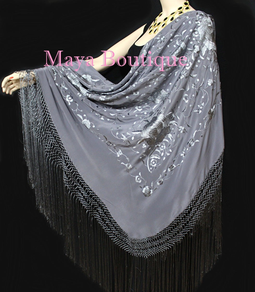 Flamenco Embroidered Silk Piano Shawl Wrap Dusk Gray Floral 84