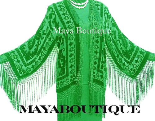 Apple Green Fringe Jacket Kimono Silk Burnout Velvet Maya Matazaro Made in USA