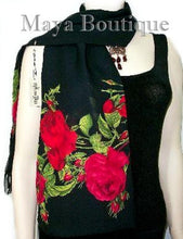 Scarf Red Gypsy Roses Georgette with Fringes Maya Matazaro + Gift Box USA Made