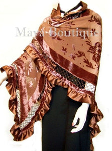 Copper Shawl Scarf Wrap Silk Burnout Velvet Triangle Ruffles Maya Matazaro