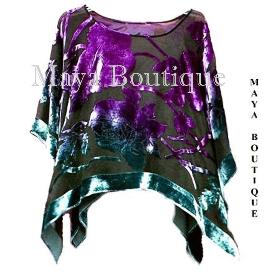 Top Silk Burnout Velvet MAYA PONCHO Stained Glass Collection Teal & Purple