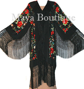 Embroidered Silk Opera Coat Kimono Flamenco Jacket Red Roses Black Maya Matazaro