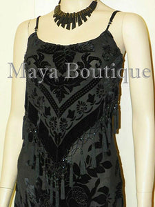 Black Dress Gown Fringe Flapper Style Beaded Burnout Silk Velvet Maya XL
