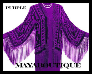 SILK JACKET TOP KIMONO DUSTER BOLERO BLAZER PURPLE MAYA MATAZARO