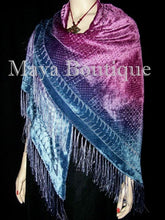 Dyed Dyed Shawl Burnout Velvet Triangle Purple & Blue Maya Matazaro