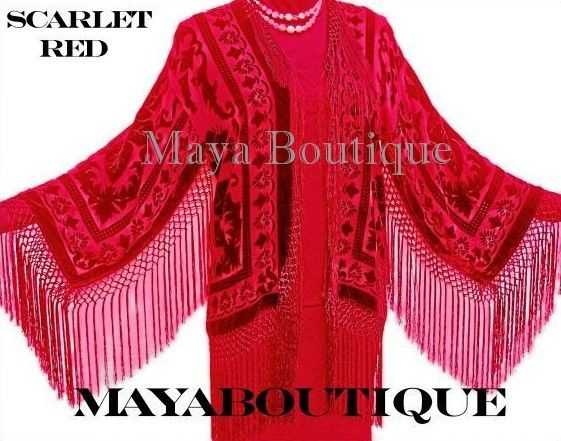 Fringe Jacket Kimono Scarlet Red Silk Burnout Velvet Short Maya Matazaro US Made