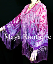 Wearable Art Hand Dyed Velvet Kimono Fringe Jacket Grape Wine Maya Matazaro