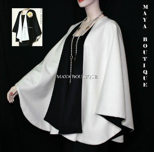 Cashmere Reversible Cape Ruana Wrap Coat Ivory & Black Maya Matazaro USA Made