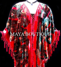 Silk Velvet Kimono Opera Coat Duster Beaded Red Multi Peacock Maya Matazaro