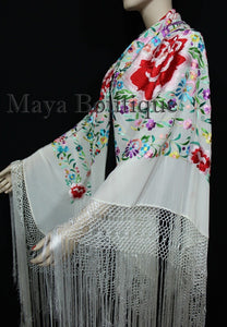 Flamenco Embroidered Silk Piano Shawl Wrap White Flower & Birds Multicolors 90""