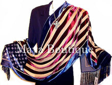 USA Flag Scarf Shawl Fringed Wrap Silk Burnout Velvet Designed By Maya Matazaro