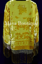 Antique Gold Fringe Jacket Short Kimono Duster Silk Burnout Velvet Maya Matazaro