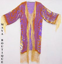 Orange Gold Burnout Velvet Silk Fringe Jacket kimono Long Coat Maya Matazaro