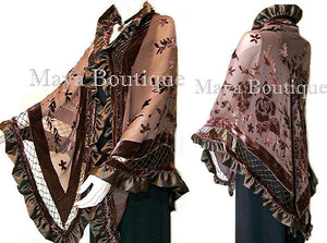 Chocolate Shawl Scarf Wrap Silk Burnout Velvet Triangle Ruffles Maya Matazaro