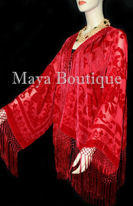 True Red Kimono Fringe Jacket SILK Burnout Velvet Short Maya Matazaro Plus Size