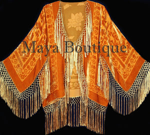 Orange Kimono Silk Burnout Velvet Fringe Jacket Short Maya Matazaro