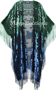 Blue Green Wearable Art Kimono Caftan Jacket Velvet Hand Dyed Maya Matazaro