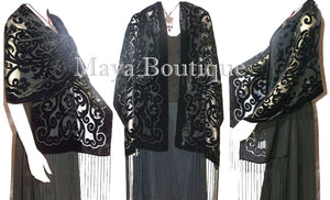 Shawl Wrap Scarf Burnout Velvet Art Nouveau Long Black Maya Matazaro