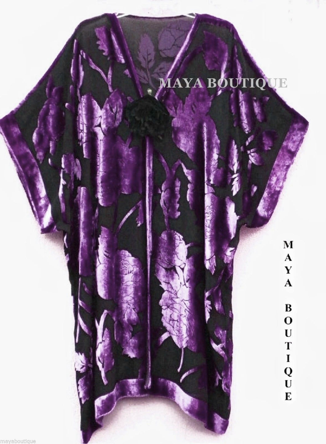 Silk Burnout Velvet Jacket Kimono Duster Purple & Black No Fringe Maya Matazaro