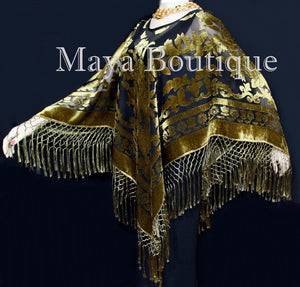 Maya Matazaro Antique Gold & Black Burnout Velvet Poncho Shawl Top With Fringes